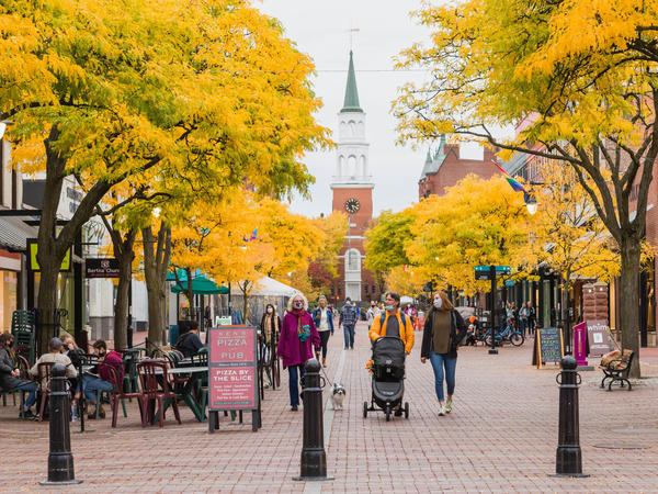 Church Street is a central shopping street in Burlington, Vt., where a pre-pandemic influx of remote workers is increasing as more people are working from home.