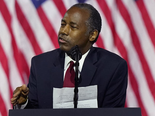 Housing and Urban Development Secretary Ben Carson speaks in September in Atlanta. Carson is the latest Trump administration official to test positive for the coronavirus.