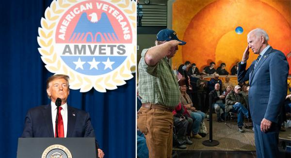 President Donald Trump speaks at a 2019 American Veterans Convention in Louisville, Ky. Former Vice President Joe Biden salutes a veteran at a 2019 Iowa town hall event.