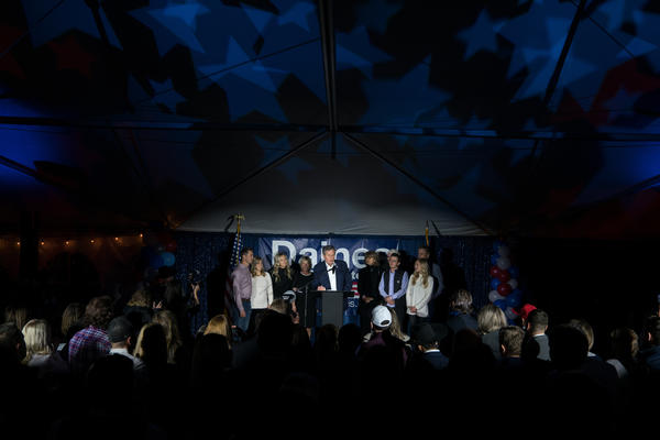 Montana Sen. Steve Daines delivers his reelection victory speech in an open-air tent in Bozeman Nov. 4, 2020.