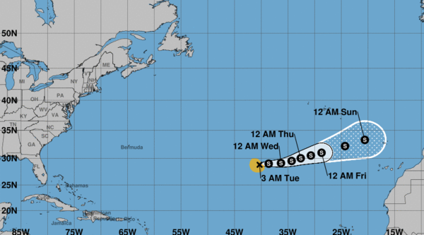 Forecast cone graphic for Subtropical Storm Theta, the 29th named storm of the 2020 hurricane season. Theta is not expected to reach the United States.