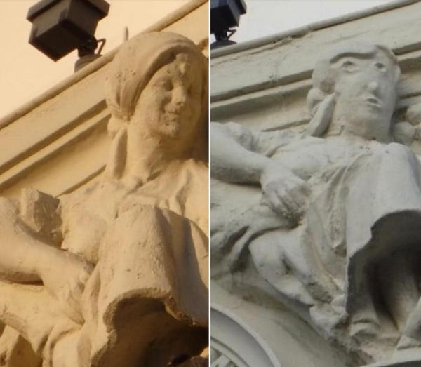 "Before and after the recent ""restoration"" of a statue in the northern Spanish city of Palencia."