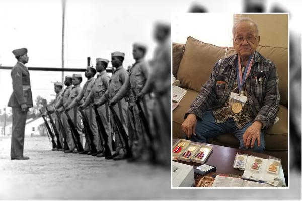 95-year-old World War II veteran Luther Hendricks poses with some of his military honors. He was a member of the Montford Point Marines, a group of African-American troops who trained at a segregated camp in North Carolina.