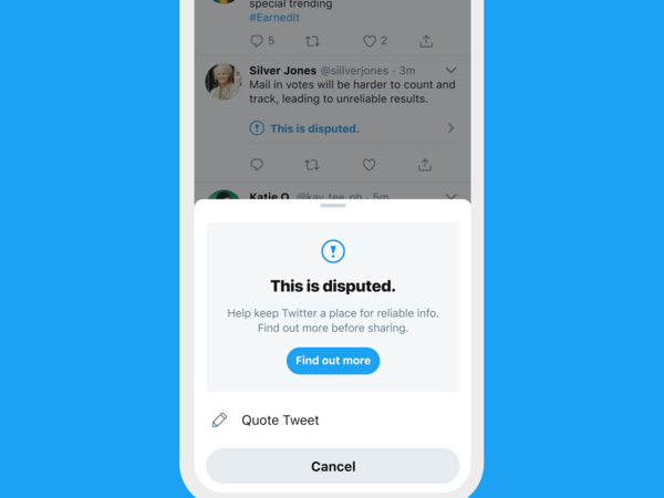 Twitter said extra steps urging people to think before sharing tweets were helping curb the spread of false claims about the election.