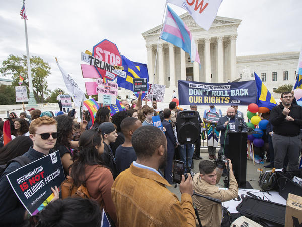 LGBTQ supporters gather in front of the U.S. Supreme Court on Oct. 8, 2019.