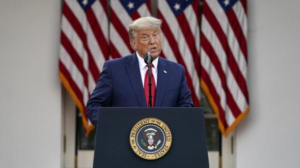 President Trump speaks in the Rose Garden of the White House on Friday.