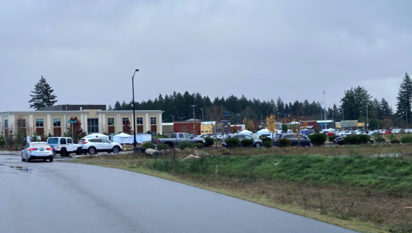 Cars line up at the Providence Southwest Washington Covid-19 drive-up testing site in Hawks Prairie near Olympia.
