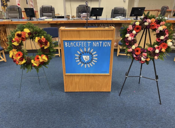 A photo posted by the Blackfeet COVID-19 Incident Command to their Facebook page shows two wreaths placed in memorial of Blackfeet tribal members who've died from COVID-19.
