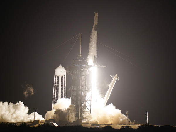 A SpaceX Falcon9 rocket, with the Crew Dragon capsule, lifts off from the Kennedy Space Center Sunday Nov. 15, 2020, in Cape Canaveral, Fla. Four astronauts are beginning a mission to the International Space Station.