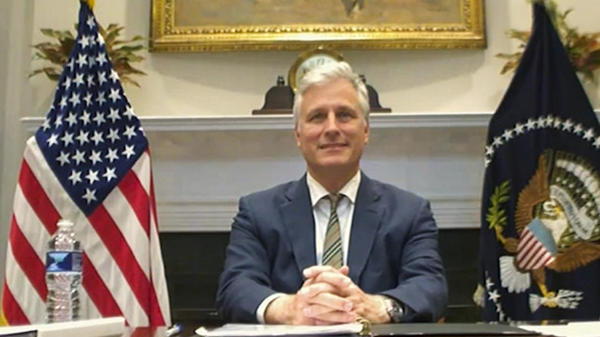 National security adviser Robert O'Brien is seen at the virtual ASEAN summit on Saturday.