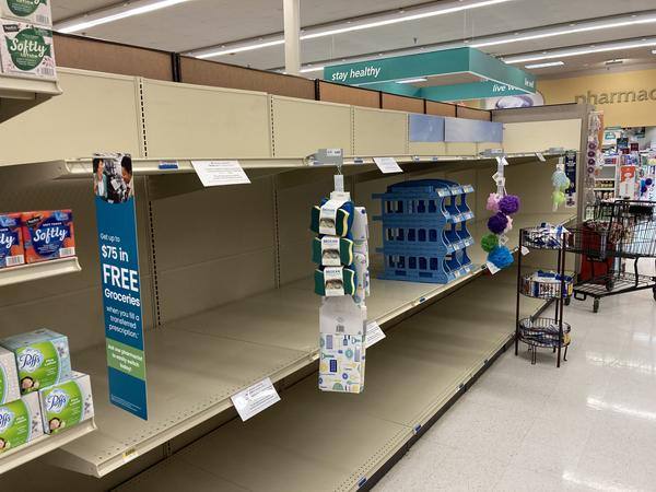 Toilet paper is sold out at a Safeway store in Tumwater, Washington. A wave of 'panic buying' followed news that Gov. Jay Inslee was instituting tough new restrictions to address a third wave of Covid-19.