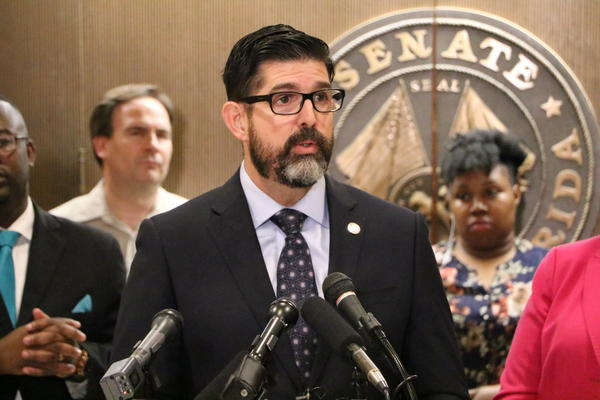 Miami-Dade Republican Senator Manny Diaz speaks at a press conference in support of the Family Empowerment Scholarship during the 2019 legislative session. Diaz is mulling a future run for Florida Senate president.