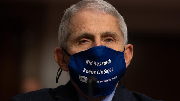 "Dr. Anthony Fauci, director of the National Institute of Allergy and Infectious Diseases at NIH, is pictured on Capitol Hill on Sept. 23. Fauci tells NPR it's ""OK to celebrate"" the vaccine news."