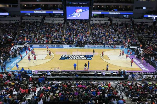 A game at Intrust Bank Arena during the 2018 NCAA tournament in Wichita.