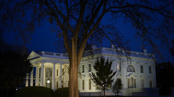The White House seen at dusk on Monday.