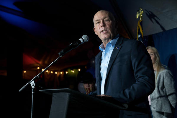 Greg Gianforte speaks to supporters in an open-air tent outside Hilton Garden Inn in Bozeman, shortly after the AP called the governor's race in his favor, Nov. 03, 2020.