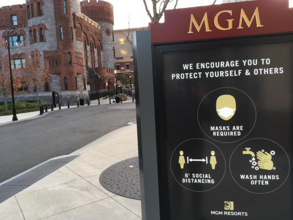 A sign outside MGM Springfield advising of COVID-19 precautions, in November 2020.