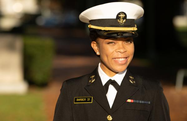 Midshipman 1st Class Sydney Barber of Lake Forest, Ill., is slated to be the U.S. Naval Academy's first African American female brigade commander. It's the highest student leadership position at the academy.
