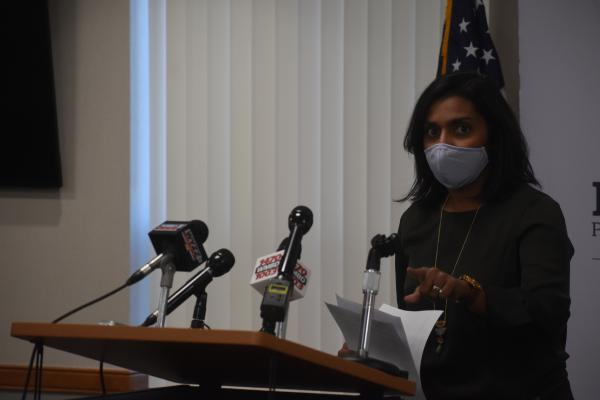 Peoria City/County Health Department Administrator Monica Hendrickson updates the community on its COVID-19 status during her weekly press briefing, Nov. 19, 2020.