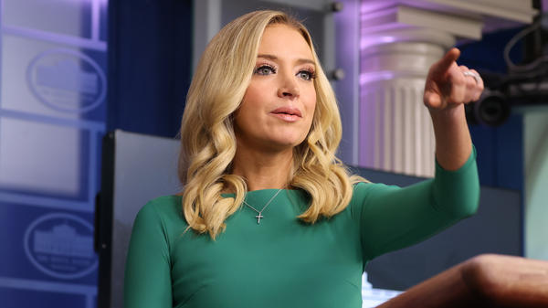 White House press secretary Kayleigh McEnany speaks Friday at the first White House formal briefing she has held in weeks.