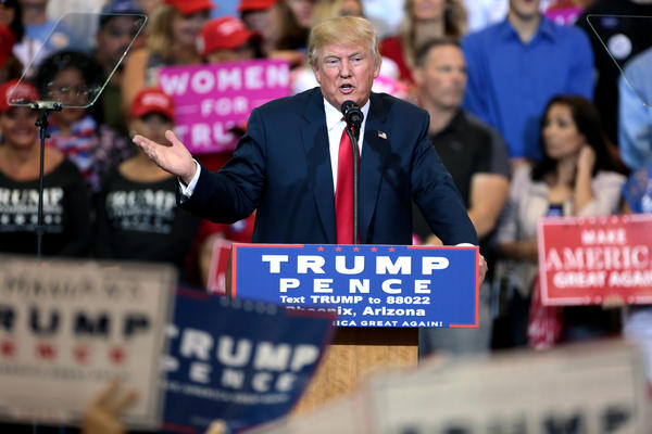 Donald Trump speaking with supporters at a campaign rally at the Phoenix Convention Center in Phoenix, Arizona.