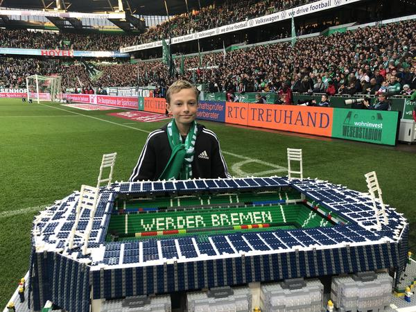 Joe Bryant, a 12-year-old superfan of German pro soccer, visted Weser Stadium in Bremen a year ago to show off his recreation of Werder Bremen's home field.