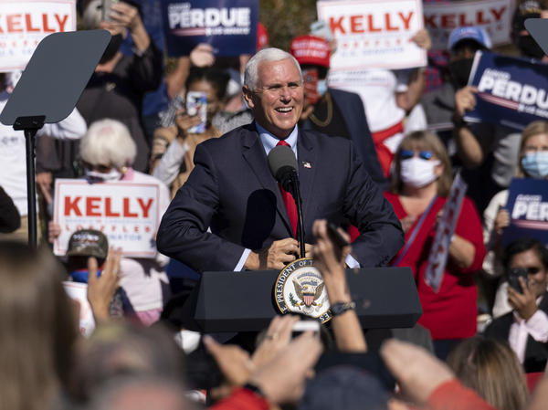 "Vice President Pence speaks during a rally Friday in Canton, Ga., where he vowed: ""We're going to keep fighting until every legal vote is counted. We're going to keep fighting until every illegal vote is thrown out."""