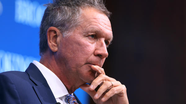 """Ohio Gov. John Kasich, pictured in October 2018 in Washington, D.C., says that President Trump's refusal to concede is """"absurd."""""""