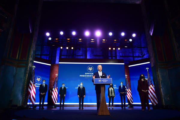 President-elect Joe Biden (C) introduces key foreign policy and national security nominees and appointments at the Queen Theatre on November 24, 2020 in Wilmington, Delaware.(Mark Makela/Getty Images)
