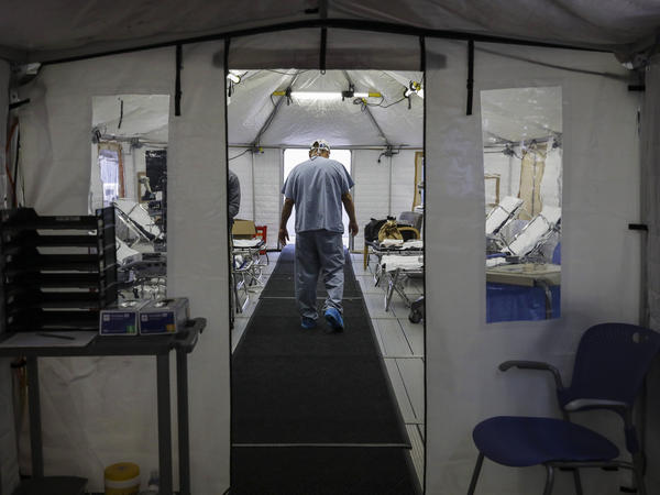 A temporary tent was set up at UMass Memorial Hospital in Worcester, Mass., to prepare for an uptick in COVID-19 cases this month.