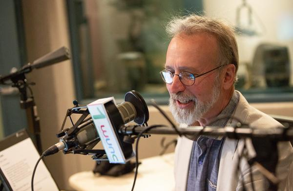 Host Frank Stasio in The State of Things studio in Durham in 2016.