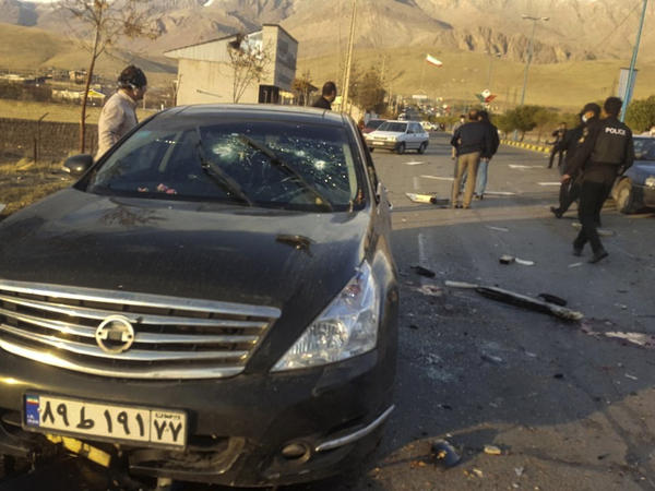 The scene of where Mohsen Fakhrizadeh was reportedly killed Friday in Absard, Iran, a city just east of Tehran. Fakhrizadeh, an Iranian scientist that Israel alleged led the Islamic Republic's military nuclear program until its disbanding in the early 2000s, was assassinated Friday, state TV said.