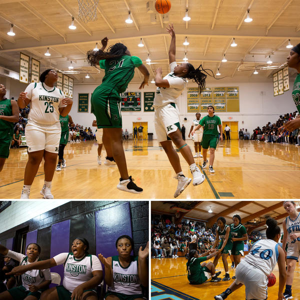 Top: Kinston High School basketball player Taliyah Jones goes up for a shot. The girls basketball team was undefeated in their conference for the 2019-2020 season. Left: Sheriece Jones, Zykia Andrews and Quiaira Powell cheer for their teammates. Right: Sheriece Jones is helped up from the court by teammates Kahlia Hargett and Quiaira Powell during a game.
