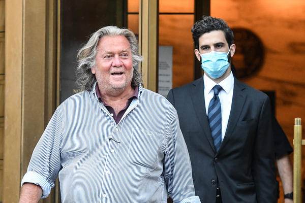 Former White House adviser Steve Bannon exits the Manhattan Federal Court on Thursday. Bannon and three other defendants have been indicted for allegedly defrauding donors in a $25 million border wall fundraising campaign. Bannon joins a list of 2016 Trump campaign officials who have faced federal charges.