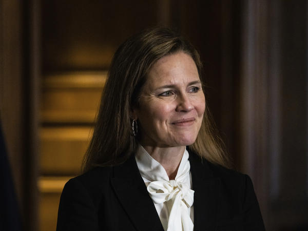 Judge Amy Coney Barrett, President Trump's nominee for the U.S. Supreme Court, meets with Sen. Deb Fischer, R-Neb., on Capitol Hill ahead of her confirmation hearings.