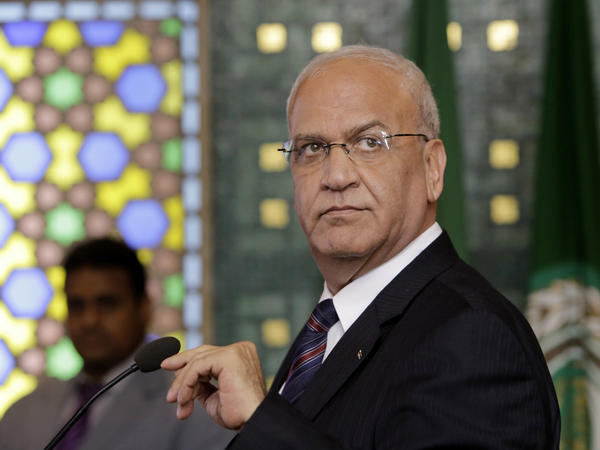 Chief Palestinian negotiator Saeb Erekat seen at a 2014 press conference at the Arab League headquarters in Cairo, Egypt.