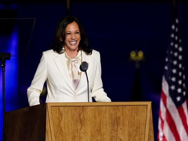 Vice President-elect Kamala Harris speaks on Nov. 7 in Wilmington, Del.