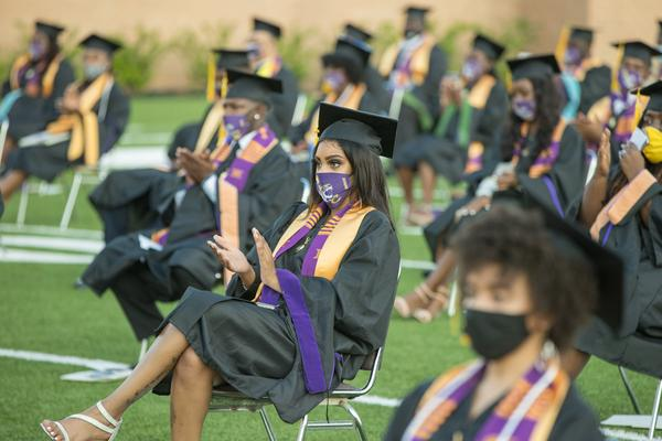 Roslyn Clark Artis, president of Benedict College, hosted a graduation ceremony for 180 students in the school's football stadium in August. She says she would recommend a socially distanced commencement to other colleges and universities — but she acknowledges it's harder to pull off with thousands of graduates.