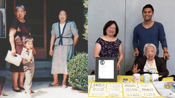 """Left: Crescenciana """"Lola"""" Tan with grandson Kenneth and daughter Olivia at their home in San Jose, Calif., in 1990. Right: the family in Oakland, Calif., in 2016."""