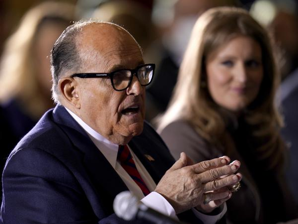 Rudy Giuliani, a lawyer for President Trump, speaks this week at a hearing of the Pennsylvania Senate Majority Policy Committee in Gettysburg. A federal appeals court threw out Trump's legal challenge to the election contest in Pennsylvania on Friday.