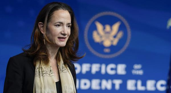 Avril Haines has been nominated as the first woman to be the director of national intelligence, a position that oversees all 17 intelligence agencies. Here, Haines speaks after President-elect Joe Biden introduced her last week in Wilmington, Del.
