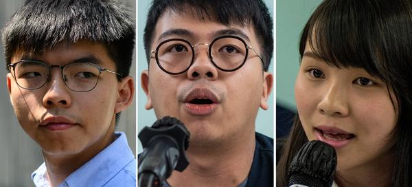 File photos shows Hong Kong pro-democracy activist Joshua Wong (from left), activist Ivan Lam and then-student activist Agnes Chow. The three were sentenced in Hong Kong on Wednesday for their roles in leading last year's anti-government protests.