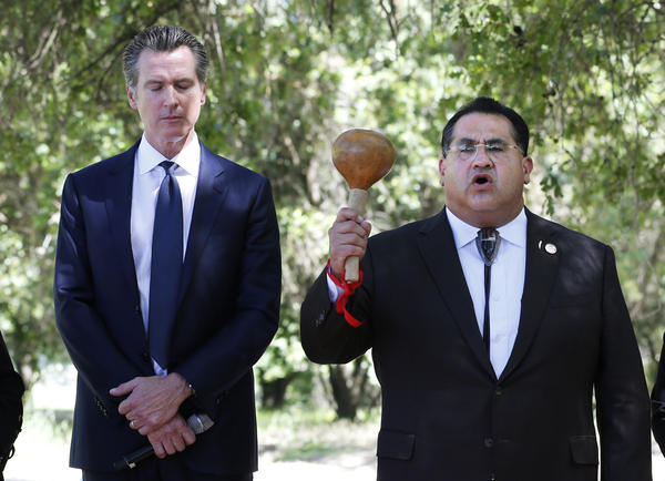 Last year, at the future site of the California Indian Heritage Center in Sacramento, Gov. Gavin Newsom, left, with Assemblyman James Ramos, formally apologized to tribal leaders across the state for the violence, mistreatment and neglect inflicted on Native Americans throughout California history.