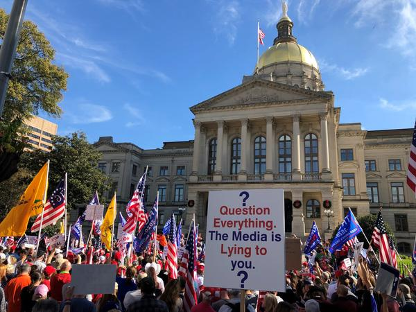 Trump supporters rally to challenge Georgia's election results, outside of the State Capitol in Atlanta in November.