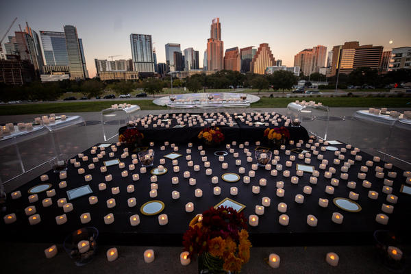 A candlelight vigil in late October honoring the 450 Travis County residents who had died by that time from COVID-19.