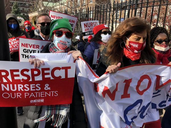 Nurses at Montefiore Medical Center in New York City protest what they say is a staff shortage at several of the network's hospitals in the Bronx and nearby suburbs. During the Nov. 19 demonstration they walked from the hospital to a nearby cemetery.