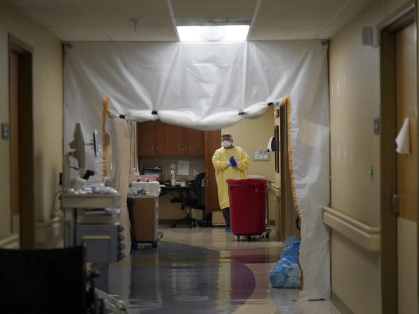 A doctor wears personal protective equipment while performing rounds in a portion of Scotland County Hospital set up to isolate and treat COVID-19 patients last month in Memphis, Mo.