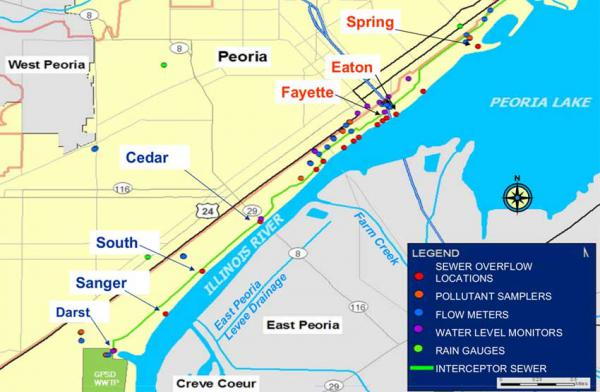 A map of areas where sewage overflow enters the Illinois River during heavy rainfall events in Peoria.