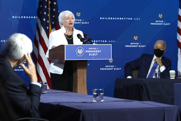U.S. Secretary of the Treasury nominee Janet Yellen speaks during an event to name President-elect Joe Biden's economic team at the Queen Theater on December 1, 2020 in Wilmington, Delaware.(Alex Wong/Getty Images)