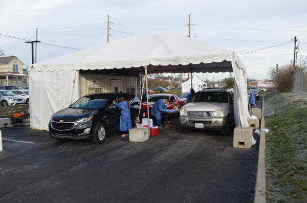 A pop-up testing site on Columbus' west side on December 3, 2020